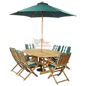 6 Seater Set: 1 x Turnbury Round Extension Table 180x120cm, 6 x Turnbury Folding Arm Chairs, FREE WOOD MAINTENANCE KIT & OIL