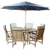 6 Seater Set: 1 x Henley 150 Round Gateleg Table 150cm, 6 x Homestead Highback Armchairs + FREE WOOD MAINTENANCE KIT & OIL