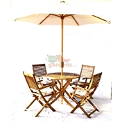 4 Seater Set: 1 x Manhattan 100 Round Folding Table Set, 4 x Turnbury Folding Arm Chairs