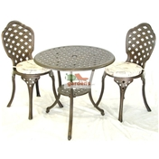 2 Seater Eclipse Bistro Set: 1x Bistro Table, 2x Bistro Chairs & 2x Bistro Chair Cushions