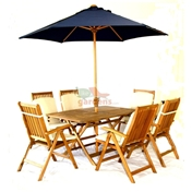 6 Seater Set: 1x Napoli 150 x 90cm Folding Table,  6 x Turnbury Recliners, FREE WOOD MAINTENANCE KIT + OIL