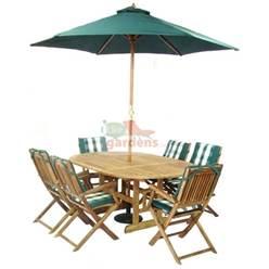 6 Seater Set: 1 x Turnbury Round Extension Table 180x120cm, 6 x Turnbury Folding Arm Chairs, FREE WOOD MAINTENANCE KIT & OIL