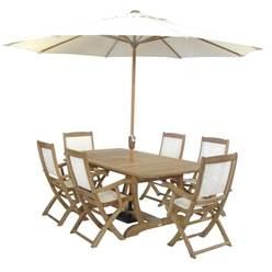 6 Seater Set: 1 x Mayfair Extension Table, 2 x St Tropez Teak Ivory Recliner Chairs,  4 x St Tropez Teak Ivory Armchairs, FREE TEAK OIL