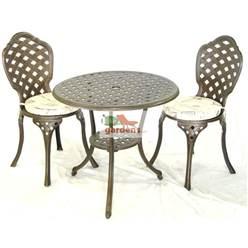 2 Seater Eclipse Bistro Set: 1x Bistro Table, 2x Bistro Chairs & 2x Bistro Chair Cushions
