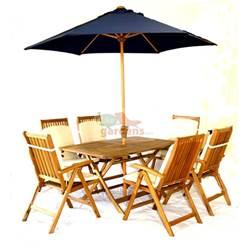 6 Seater Set: 1x Napoli 150 x 90cm Folding Table,  6 x Turnbury Recliners, FREE WOOD MAINTENANCE KIT + OIL