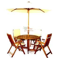 4 Seater Set: 1 x Henley 120 Round Gateleg Table V Leg, 4 x Turnbury Recliners + FREE WOOD MAINTENANCE KIT + OIL