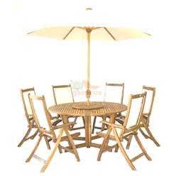 6 Seater Henley Set: 1 x 150 Round Gateleg Table & Lazy Susan, 6 x Henley Cream Recliners + FREE WOOD MAINTENANCE KIT + OIL