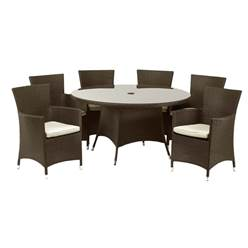 6 Seater CANNES BROWN ROUND DINING SET - Free Next Working Day Delivery (Mon-Fri)