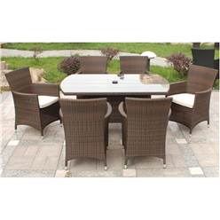 6 Seater CANNES MOCHA BROWN RECTANGULAR DINING SET - Free Next Working Day Delivery (Mon-Fri)