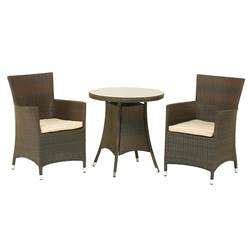 2 Seater CANNES MOCHA BROWN BISTRO SET - Free Next Working Day Delivery (Mon-Fri)