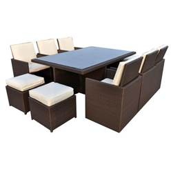 10 Seater CANNES MOCHA BROWN CUBE SET - Free Next Working Day Delivery (Mon-Fri)
