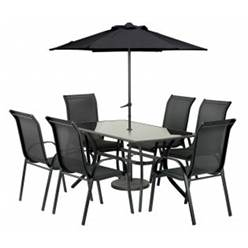 6 Seater BLACK CAYMAN RECLINER RECTANGULAR SET WITH FREE PARASOL - Free Next Working Day Delivery (Mon-Fri)