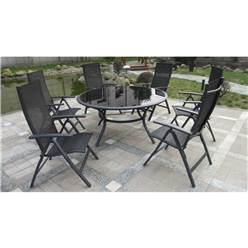 6 Seater BLACK SORRENTO DELUXE RECLINER SET - Free Next Working Day Delivery (Mon-Fri)