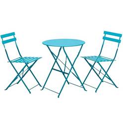 2 Seater SKY BLUE FOLDING PADSTOW BISTRO SET - Free Next Working Day Delivery (Mon-Fri)