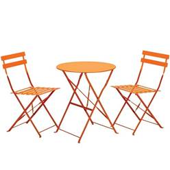 2 Seater ORANGE FOLDING PADSTOW BISTRO SET - Free Next Working Day Delivery (Mon-Fri) (Show Site)