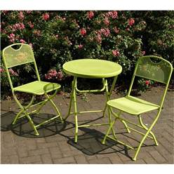 2 Seater - APPLE GREEN FOLDING CAFE ESPRESSO BISTRO SET - Free Next Working Day Delivery (Mon-Fri)