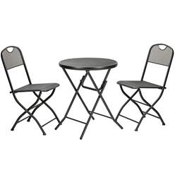 2 Seater - GRAPHITE GREY FOLDING CAFE ESPRESSO BISTRO SET - Free Next Working Day Delivery (Mon-Fri)