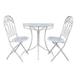 2 Seater ROMANCE BALCONY ANTIQUE WHITE HALF ROUND TABLE WITH 2 FOLDING CHAIRS - Free Next Working Day Delivery (Mon-Fri)