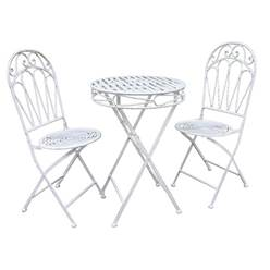 2 Seater ROMANCE BISTRO SET ANTIQUE WHITE 60CM FOLDING TABLE & 2 FOLDING CHAIRS - Free Next Working Day Delivery (Mon-Fri)