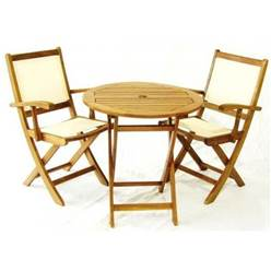 2 Seater YORK BISTRO SET - ROUND TABLE & 2 HENLEY LOWBACK FOLDING ARMCHAIRS - Free Next Working Day Delivery (Mon-Fri)
