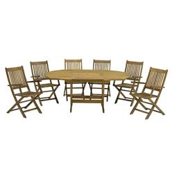 ** PRE-ORDER: DUE BACK IN STOCK: 02ND AUGUST** 6 Seater TURNBURY DINING SET WITH A RECTANGULAR EXTENSION TABLE & 6 MANHATTAN FOLDING ARMCHAIRS - Free Next Working Day Delivery (Mon-Fri)