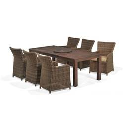 6 Seater REGANCY DINING SET WITH EUCALYPTUS TABLE, LAZY SUSAN & 6 RATTAN CARVER CHAIRS - Free Next Working Day Delivery (Mon-Fri) *NOT IN DHD CATALOGUE*