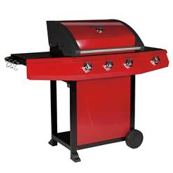 RED CLASSIC 300 STEEL TROLLEY BBQ - 3 BURNER WITH BLACK POWDER COATED HOOD & SIDE BURNER - Free Next Working Day Delivery (Mon-Fri)