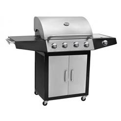 CLASSIC 4 BURNER STAINLESS STEEL FINISHED BBQ WITH SIDE BURNER - Free Next Working Day Delivery (Mon-Fri)