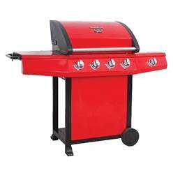 RED GOURMET 600 DELUXE 4 BURNER BBQ - Free Next Working Day Delivery (Mon-Fri)
