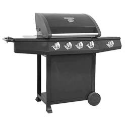 BLACK GOURMET 600 DELUXE 4 BURNER BBQ - Free Next Working Day Delivery (Mon-Fri)