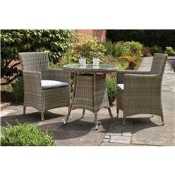 2 Seater Wentworth Bistro Set - Round Table with 2 Carver chairs Incl cushions - Free Next Working Day Delivery (Mon-Fri)