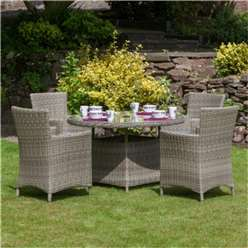 4 Seater Wentworth Round Carver Dining Set - Table with 4 Carver Chairs incl cushions - Free Next Working Day Delivery (Mon-Fri)