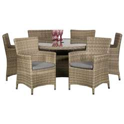 6 Seater Wentworth Round Carver Dining Set - Table with 6 Carver Chairs incl cushions - Free Next Working Day Delivery (Mon-Fri)
