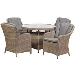 4 Seater Wentworth Round Imperial Dining Set - Table with 4 Imperial Chairs incl cushions - Free Next Working Day Delivery (Mon-Fri)