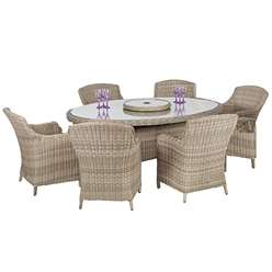 6 Seater Wentworth Elipse Oval Imperial Dining Set - Table with 6 Imperial Chairs incl. cushions - Free Next Working Day Delivery (Mon-Fri)