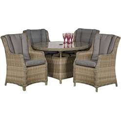 4 Seater Wentworth Round Highback Comfort Dining Set - Table with 4 Highback Comfort Chairs incl. cushions - Free Next Working Day Delivery (Mon-Fri)