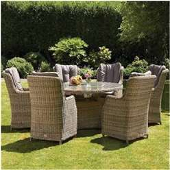 6 Seater Wentworth Round Highback Comfort Dining Set - Table with 6 Highback Comfort Chairs incl. cushions - Free Next Working Day Delivery (Mon-Fri)