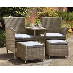 2 Seater Wentworth Fixed Companion Set - with pullout Footstools incl. cushions - Free Next Working Day Delivery (Mon-Fri)