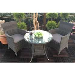 2 Seater MADISON Bistro Set - 70cm Round Table with 2 Classic Chairs incl. cushions - Free Next Working Day Delivery (Mon-Fri)