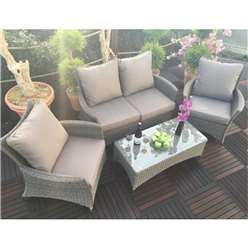 4 Seater MADISON DELUXE LOUNGE SET 2 Seater Sofa with Coffee Table & 2 x Lounging ArmChairs