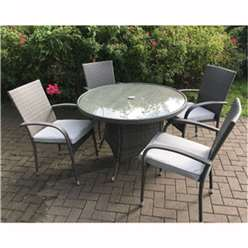 4 Seater MARLOW Bistro Set - 70cm Glass Top Table with 2 Stacking Chairs