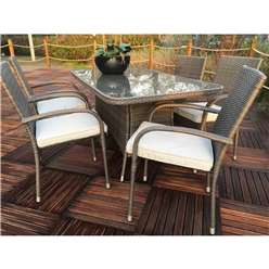 6 Seater Marlow Rectangular Dining set - 150 x 90cm Glass Top Table with 6 Stacking Chairs incl. Cushions