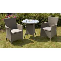 2 Seater MARLOW Bistro Set - 70cm Glass Top Table with 2 Carver Chairs incl. cushion