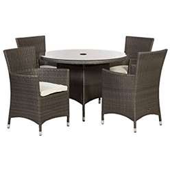 4 Seater MARLOW Round Dining Set - 110cm Round Glass Top Table with 4 Carver Chairs incl. cushions