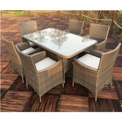 6 Seater MARLOW Rectangular Dining Set - 150 x 90cm Glass Top Table with 6  Carver Chairs incl. cushions