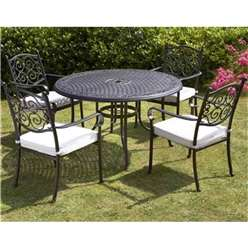4 Seater Versailles Round Table with 4 Stacking Chairs incl. cushion - Free Next Working Day Delivery (Mon-Fri)