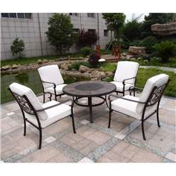 4 Seater Versailles Firepit Set - 106cm Firepit Table with 4 Lowback Stacking Chairs incl. cushions - Free Next Working Day Delivery (Mon-Fri)