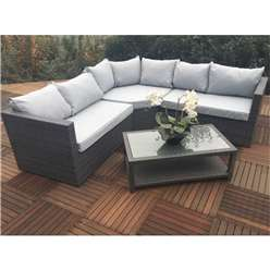 6 Seater MARLOW Triangle Corner Lounging Set Alum. - 1 pc RH Sofa , 1 pc LH Sofa , 1 pc large Triangular Corner Seat and Coffee table with Shelf