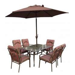 6 Seater Amalfi STRIPE Rectangular Set with Parasol - 152 x 96cm Table with 6 Chairs - Burgundy Stripe cushions and 2.7m Paraso