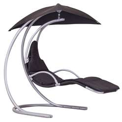 Black Helicopter Swing Chair - Silver Frame with Canopy